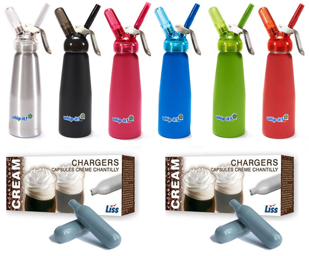 48 Liss Cream Chargers U0026 1/2 Litre Whip It! Whipped Cream Dispenser With  Translucent Head