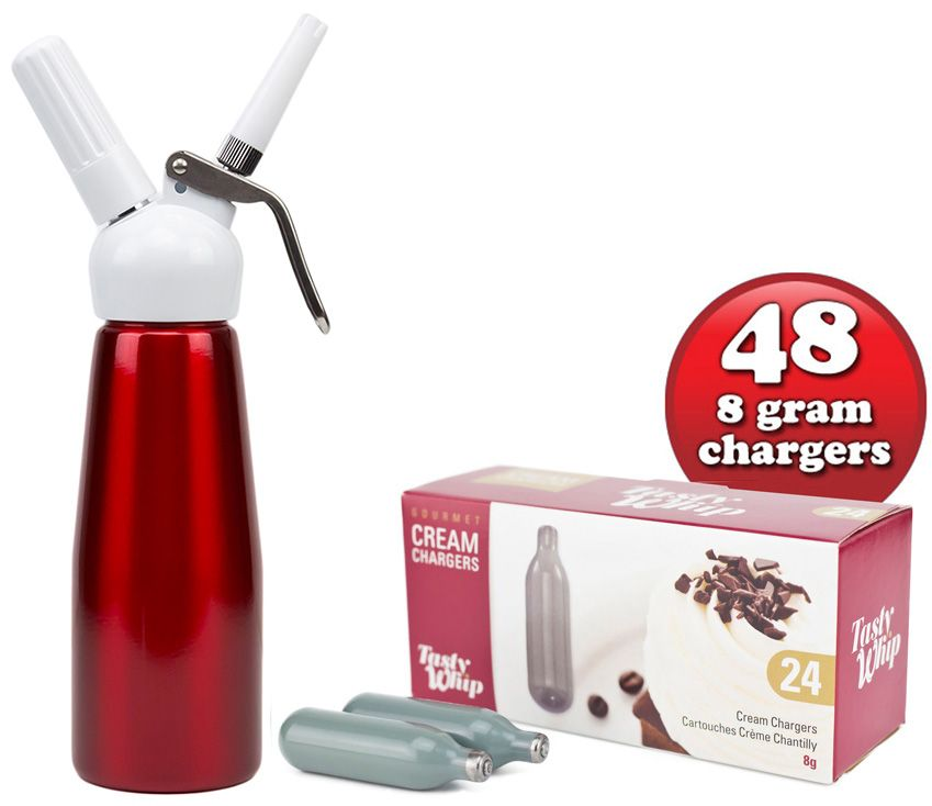 48 Tasty Whip chargers & 1/2 litre  Tall cream dispenser.  Choice of 5 Colours.