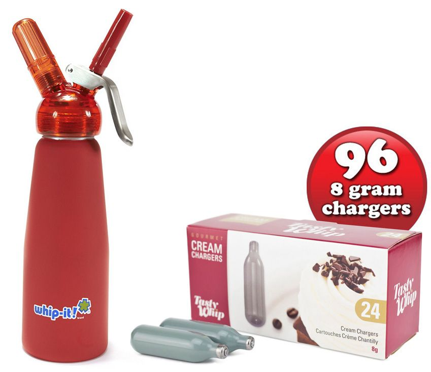 96 Tasty Whip Cream Chargers & 1/2 Litre Whip It! Whipped Cream Dispenser with Translucent Head